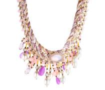 Halskette aus Stoff mit Kunstperlen