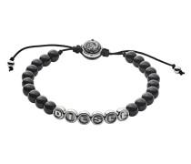 Armband aus Edelstahl & Stoff mit Onyxen