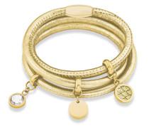 Armband aus Leder & Edelstahl mit Swarovski-Stein