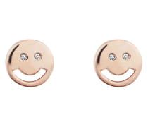 Ohrstecker Smileys aus rosévergoldetem 925 Sterling Silber mit Zirkonia