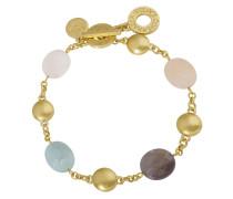 Armband vergoldet mit Achat, Rosenquarz & Jade