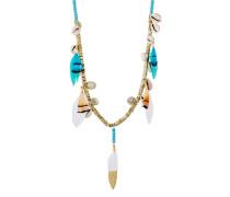 Halskette Layla aus Achaten, Muscheln & Federn