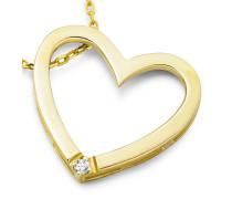 Halskette 'Herz' aus 375 Gold mit Diamant