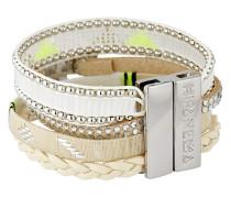 Armband Whitefree aus Kunstperlen & Stoff