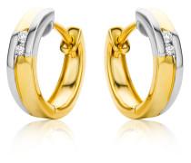 Creolen aus 585 Bicolor-Gold mit Diamanten