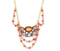 Halskette Giada vergoldet mit Koralle
