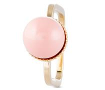 Ring eckig mit Swarovski Perle rosa-52