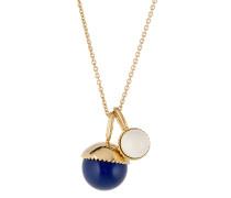 Halskette mit Swarovski Perlen blau-weiß