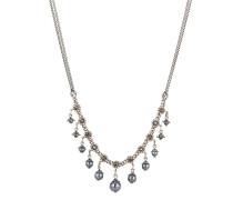 Halskette Pearl 'n' Ribbons aus Metall mit Glassteinen & Kunstperlen