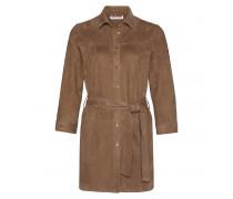 Ziegenvelours Long-Bluse AMBER für Damen - Cream Brown