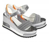Plateau Wedge-Sandalen CANNES für Damen - Silver / Orange