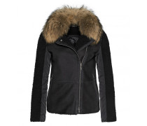 Mixed-Combo Shearling-Jacke NELLY für Damen - Black