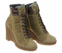 WEDGE-BOOTIES NEW FLORENCE für Damen - Olive / Chocolate