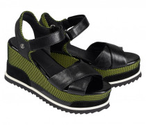 Plateau Wedge-Sandalen CANNES 4C für Damen - Black / Lime