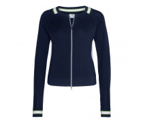 Schurwoll-Strickjacke SAMIRA für Damen - Navy / Multicolor