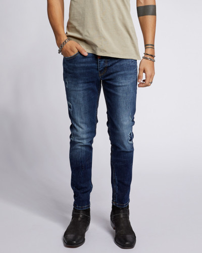 Destroyed Jeans Robin 9054 patched blau