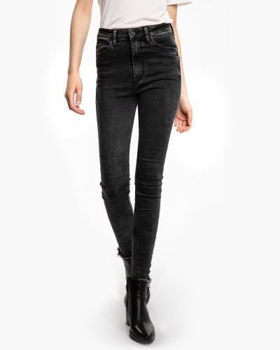 Damen High Waist Jeans Tiffy 5125 ripped hem grau (dark grey)