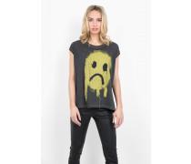 Print Shirt Dropout Smiley WSN grau