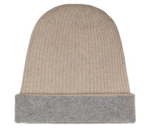 Zweifarbige Beanie-Mütze