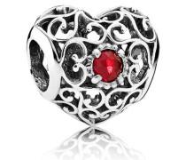 Damen Charm Juli-Herz Rot Silber Synthetischer Rubin onesize 791784SRU