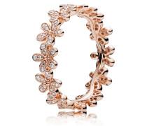 Rose Kombinierbarer Damenring Glanzvolles Gänseblümchen-Band rosegold 48 180934CZ-48