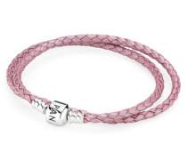 Zweifaches Lederarmband  Silber Pink 590705CMP-D1