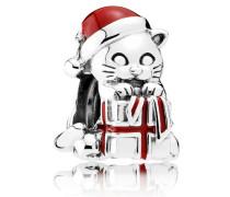 Damen Charm Weihnachts-Kätzchen Rot Silber onesize 792007EN39