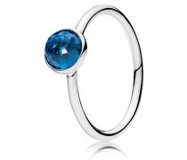 Kombinierbarer Ring  Dezember Tröpfchen  Silber Blau 191012NLB-50