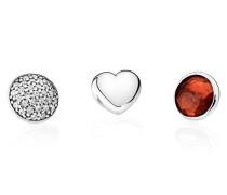 Damen Medaillon-Halskette Set Januar Rot Silber onesize 792091GR