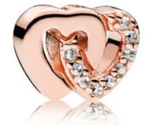 Rose Damen Medaillon-Elemet für Medaillon-Halskette Verschlungene Herzen rosegold onesize 786300CZ