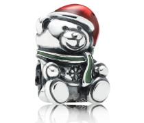 Damen Charm Weihnachts-Teddy Rot Silber onesize 791391ENMX