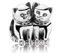 Charm  Verliebte Kätzchen  Silber 791119