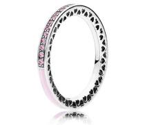 Kombinierbarer Ring  Strahlende Herzen   Silber Pink 191011PCZ-48