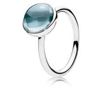 Kombinierbarer Ring  Malerisches Tröpfchen  aqua Silber Blau 190982NAB-48