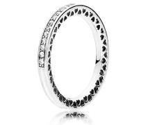 Kombinierbarer Ring  Strahlende Herzen  Silber Weiß 191011CZ-50