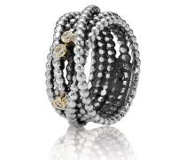 Ring  Gewickelter Metallperlen mit Diamant Bicolor 190242D-48
