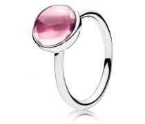 Kombinierbarer Damenring Tröpfchen Pink Silber 48 190982PCZ-48