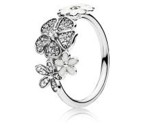 Kombinierbarer Ring  Blumen-Bouquet  Silber Weiß 190984CZ-48
