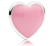 Damen Medaillon-Elemet für Medaillon-Halskette Herz Pink Silber onesize 792169EN24