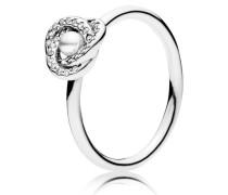Kombinierbarer Ring Glänzender Liebesknoten Weiß 191040WCP-48