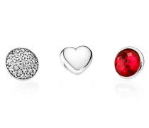 Damen Medaillon-Halskette Set Juli Rot Silber onesize 792091SRU