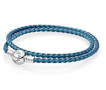 Damen Lederarmband zweifach gewickelt Blau Silber 35 cm 590747CBMX-D1