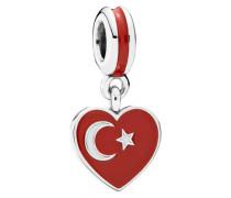 Herzflagge Türkei Charm-Anhänger Grau 791552ENMX