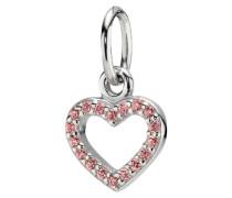 Offenes Herz Halskettenanhänger Pink Cubic Zirconia 390325PCZ