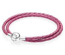 Armband   pinkfarbenes Leder zweifach gewickelt Silber Pink 590734CHP-D2