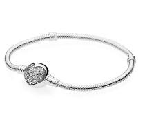 Damenarmband Pavé Kugel Herz-Kugelverschluss Silber 16 cm 590743CZ-16