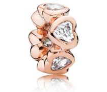 Rose Damen Zwischenelemente Charm Herzen rosegold Cubic Zirkonia onesize 781252CZ