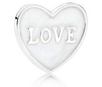 Damen Charm Herz Weiß Silber onesize 792112EN23