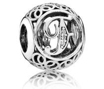 "Charm  Vintage ""F""  Silber Cubic Zirconia 791850CZ"