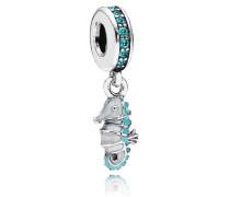 Damen Charm mit Anhänger Tropisches Seepferdchen Türkis Silber Cubic Zirconia onesize 791311MCZ